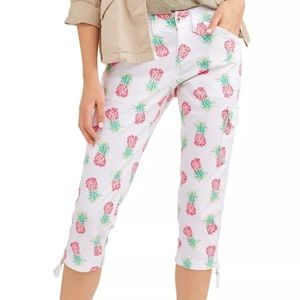 Time and tru Women's pineapple white pants size 8